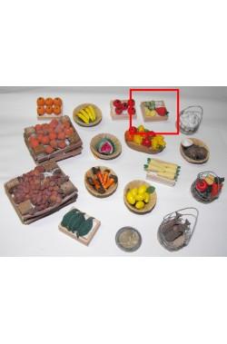 Accessori presepe fruttivendolo:cassetta verdura mista piccola realizzata a mano