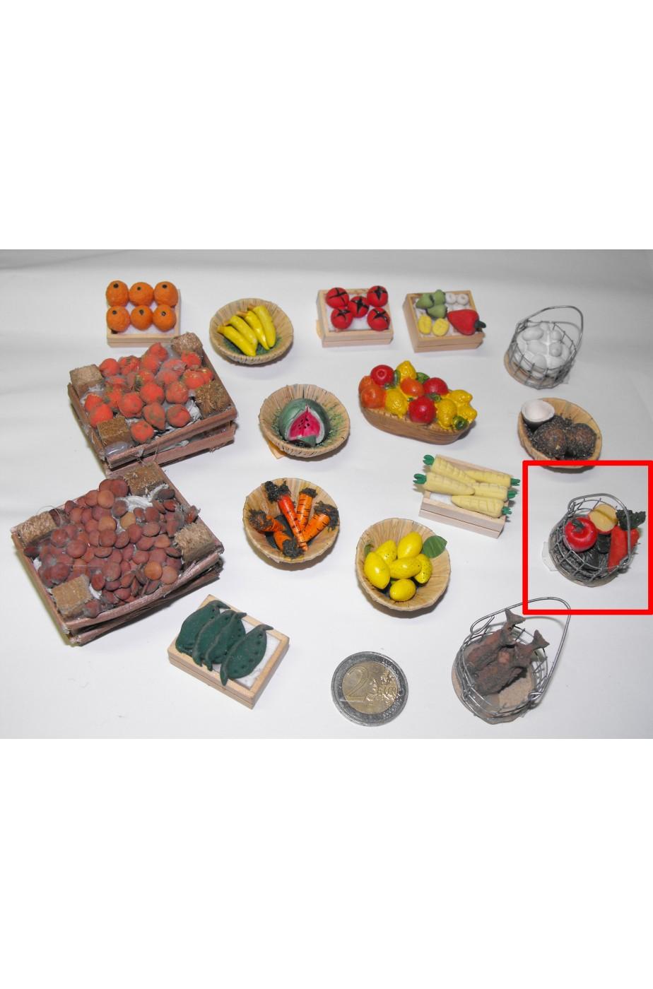 Accessori presepe fruttivendolo:cesto metallo con verdura mista fatto a mano