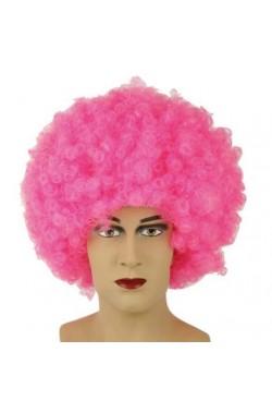 Parrucca unisex rosa riccia anni 70