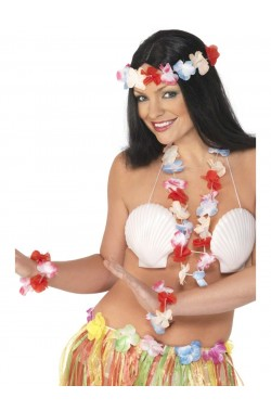 Set Hawaiiano multicolore include ghirlanda,corona,polsini