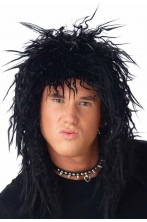 Parrucca nera rocker anni 80 kiss