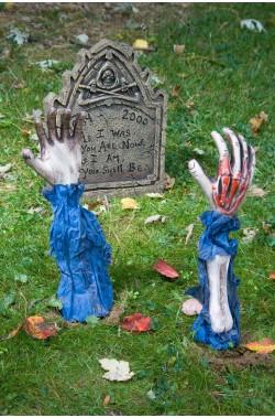 Addobbo decorazione Halloween da giardino mani scheletro che escono da terra Zombie