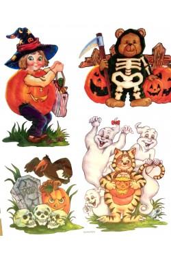 Decorazione Halloween vetrofania glitter 4 personaggi