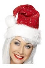 Cappello Babbo Natale con fiocchi di neve glitter