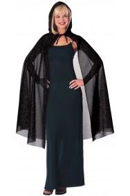 Mantello con cappuccio nero glitter 140 cm