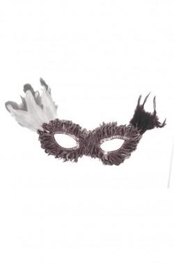 maschera stile veneziano rossa con piume tortora e rosa