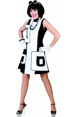 Costume donna anni 60 bianco e nero