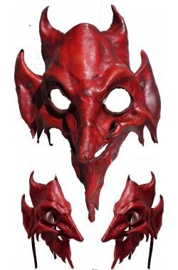 Maschera Diavolo Satana Astarot in cuoio realizzata a mano