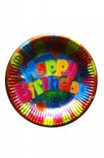 Prisma Happy Birthday Piatti piani di carta primo o secondo prismatico 8pzx27cm