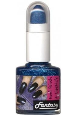 Smalto Brillantinato Glitter Blu con Rossetto
