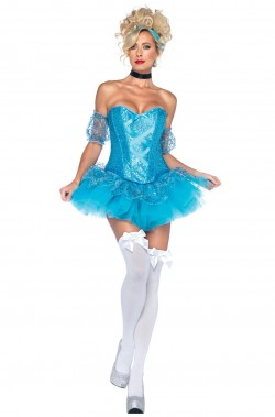 Abito Cenerella Principessa Azzurra corta