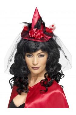 Mini Cappello Strega Rosso con veletta