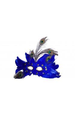 maschera stile veneziano oro con piume blu e tortora