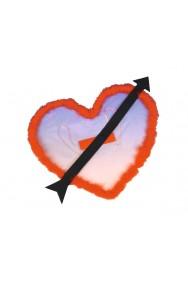 Ali rosse in tulle a cuore Cupido con bordo in marabou e freccia nera in panno applicata.