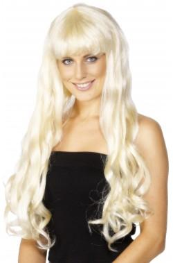 Parrucca donna lunga bionda mossa con frangia