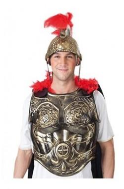 Pettorale armatura romana con mantello e marabou