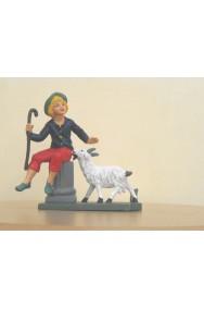 Figurina Presepe in plastica (cm 7 o 10.) Pastore su colonna con pecore