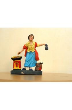 Figurina Presepe in plastica (cm 7 o 10 s.q.) Pizzaiola con forno