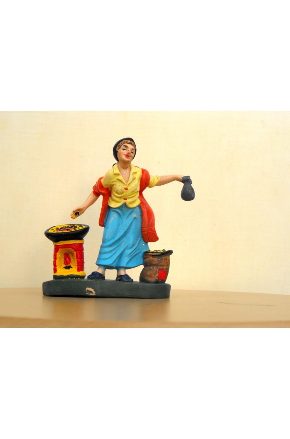 Figurina Presepe in plastica (cm 10) Pizzaiola con forno