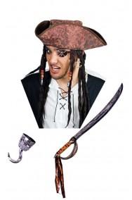 Set pirata con cappello, spada, uncino, occhiello e orecchino