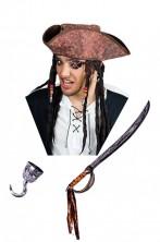 Cappello pirata tricorno con dreadlocks tipo Jack Sparrow