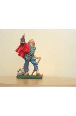 Figurina Presepe in plastica (cm 10) Pastore con lanterna
