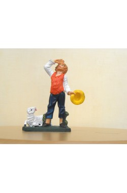 Figurina Presepe in plastica (cm 7 o 10 s.q.) Pastore che guarda la stella cometa
