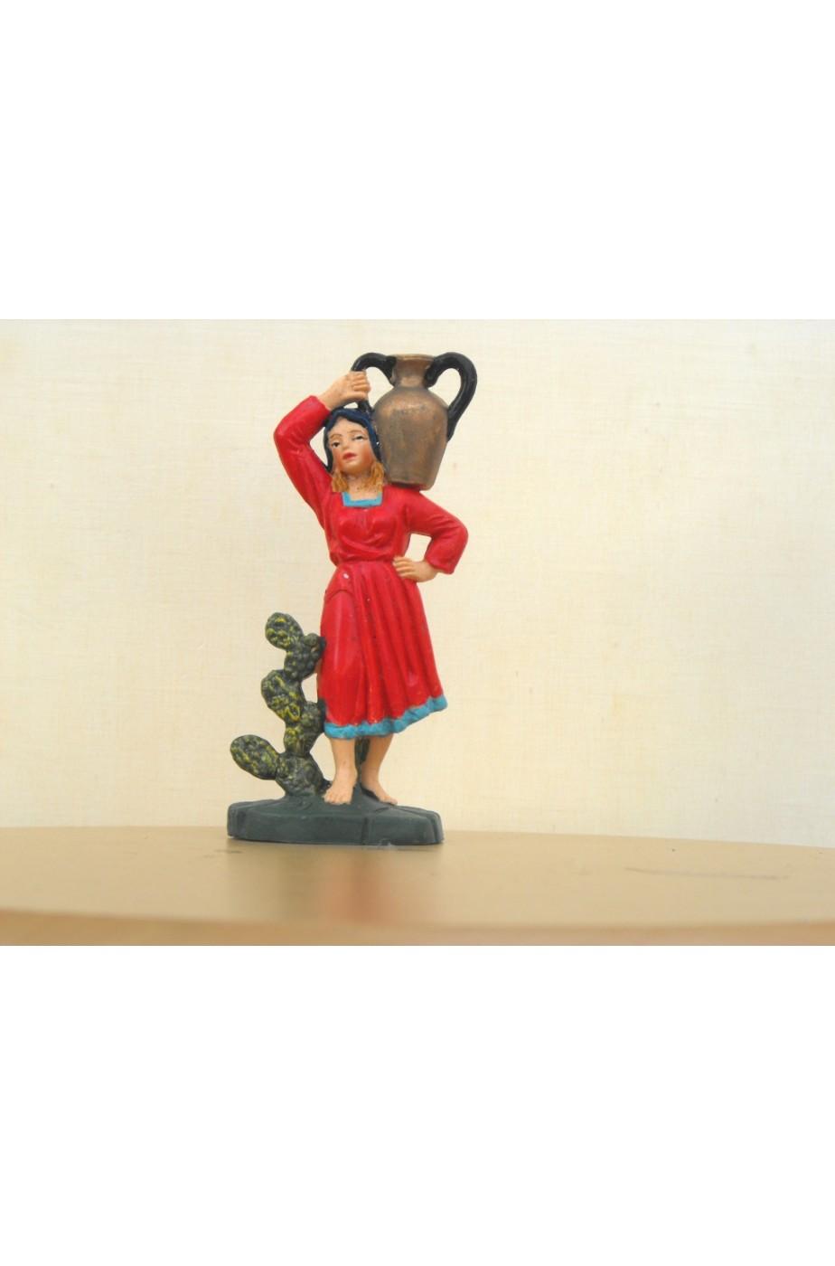Figurina Presepe in plastica (cm 10) Donna con giara