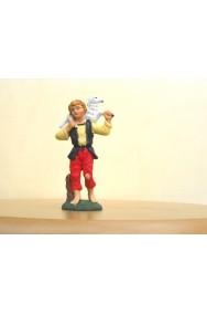 Figurina Presepe in plastica (cm 7 o 10 s.q.) Pastore con pecora sulla spalla