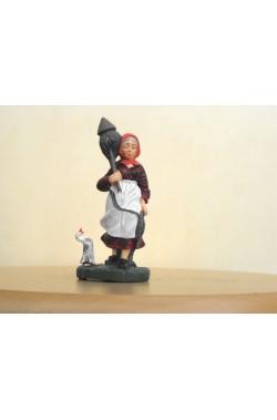Figurina Presepe in plastica (cm 7 o 10 s.q.) Cardatrice con lana, gomitolo e oca
