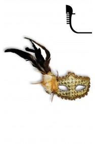 Maschera carnevale stile veneziano in pizzo e piume rossa