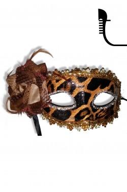 Maschera carnevale stile veneziano in pizzo e piume oro