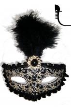 Maschera carnevale stile veneziano nera anni 20
