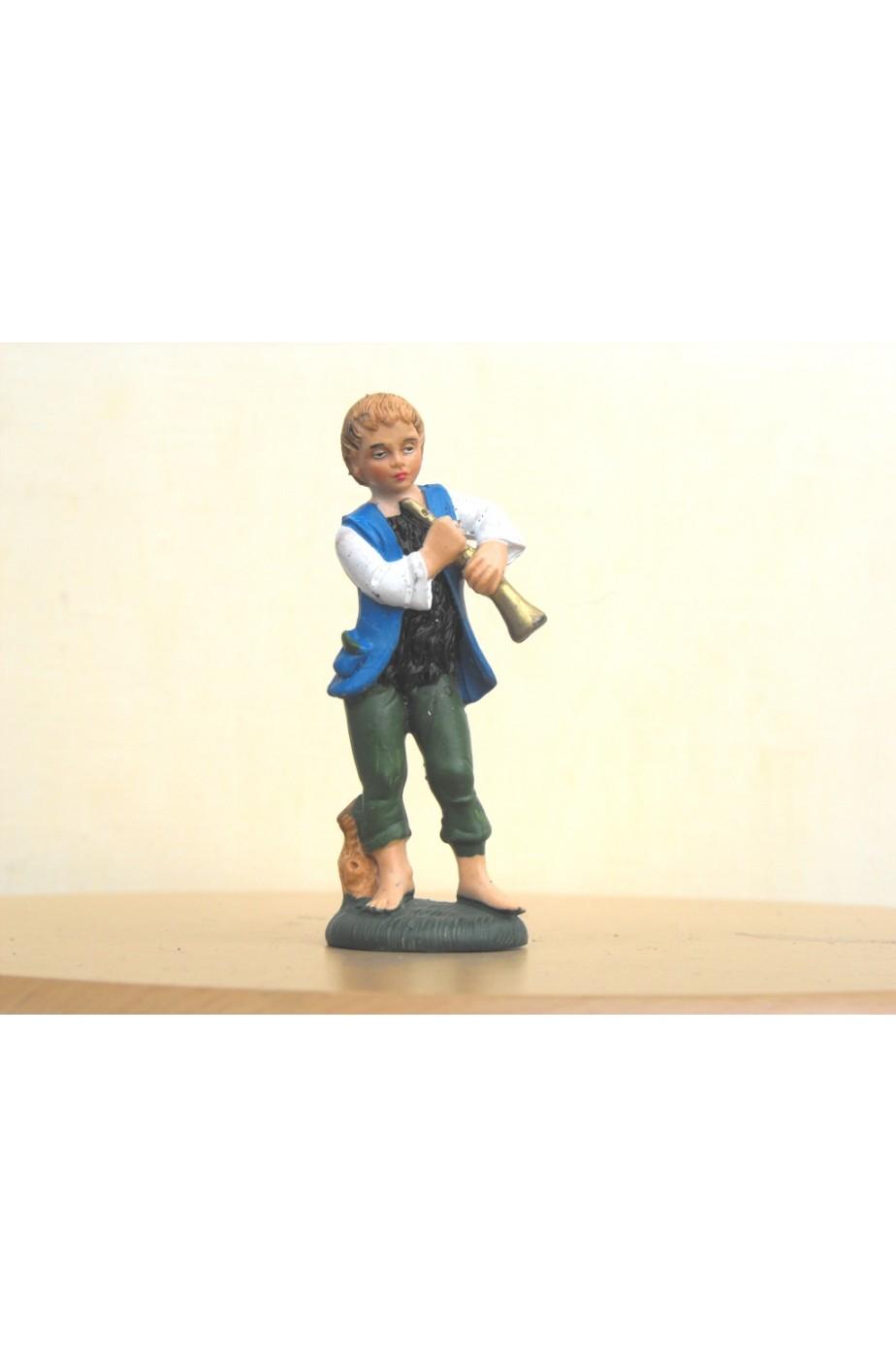 Figurina Presepe in plastica (cm 7 o 10 s.q.) Zampognaro con gilet azzurro