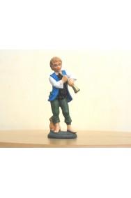 Figurina Presepe in plastica (cm 10) Zampognaro con gilet azzurro