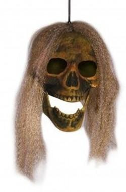 Decorazione Halloween da appendere teschio con capelli verde