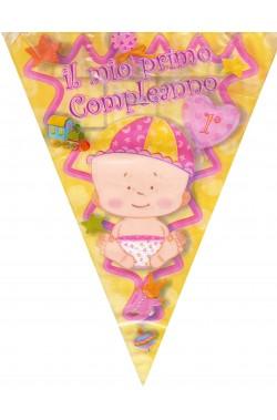 Festone decorativo nascita bambina bandierine 3,60mt Benvenuta