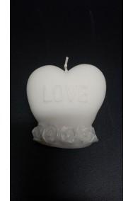 Candela in cera bianca a cuore San Valentino I Love You larghezza 7cm