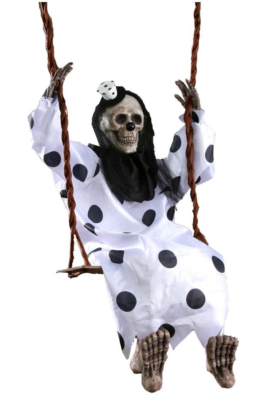 Decorazione Halloween da giardino scheletro sull'altalena Clown