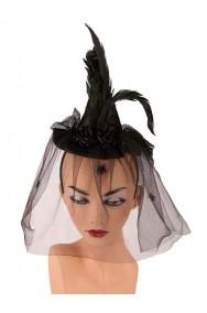 Cappello  Strega con cerchietto  Nero con veletta