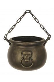 Calderone strega pirati 18cm diametro con teschio