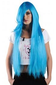Parrucca donna lunga lolita giapponese frangia Manga anime azzurra