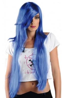 Parrucca donna lunga azzurra lolita giapponese Manga anime