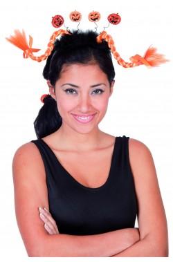 Cerchietto con treccine e zucchette Halloween
