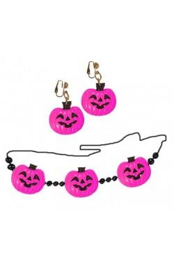 Set collana e orecchini a forma di zucca Halloween colore ROSA