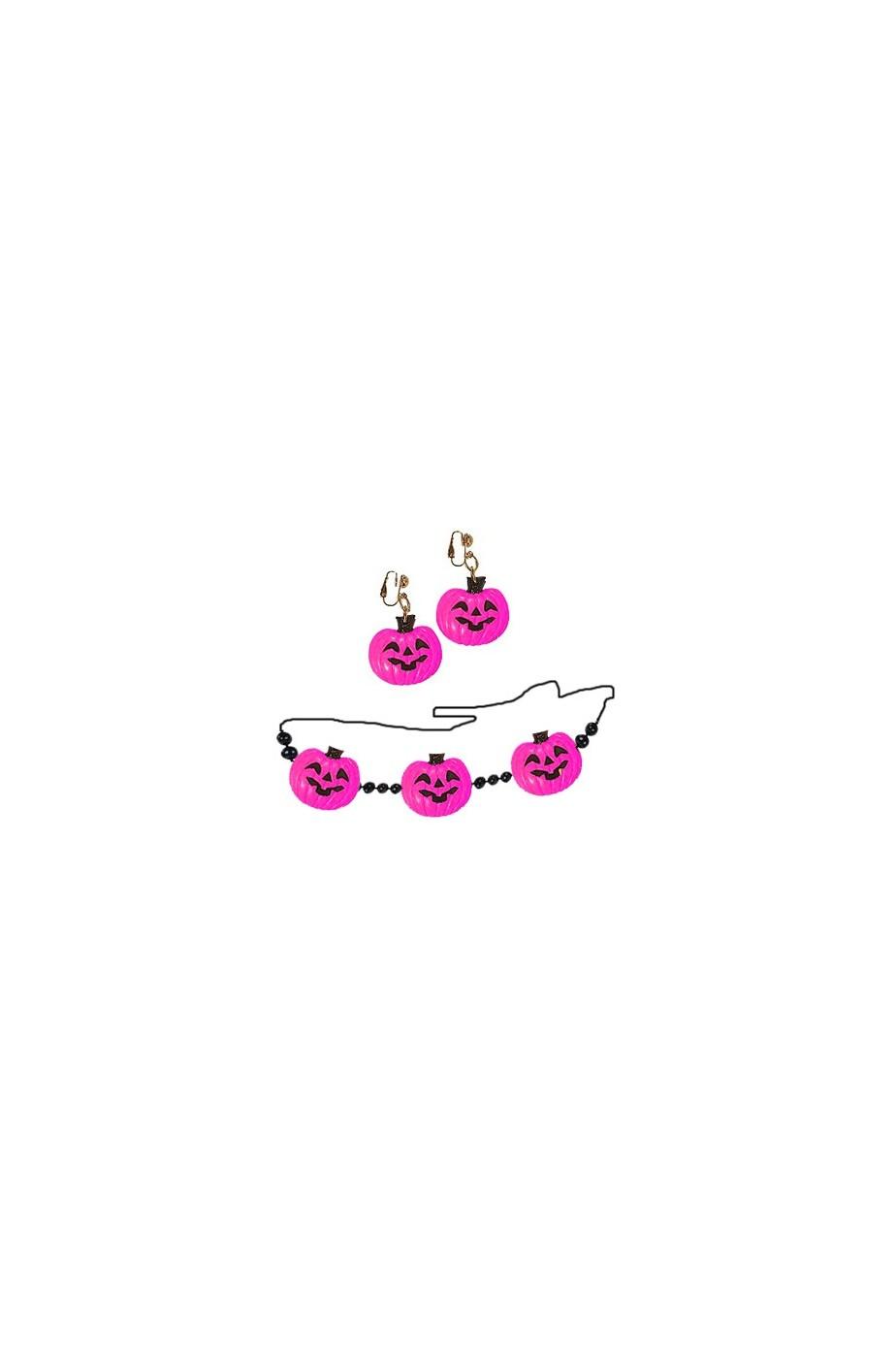 Collana e orecchini zucca colore ROSA