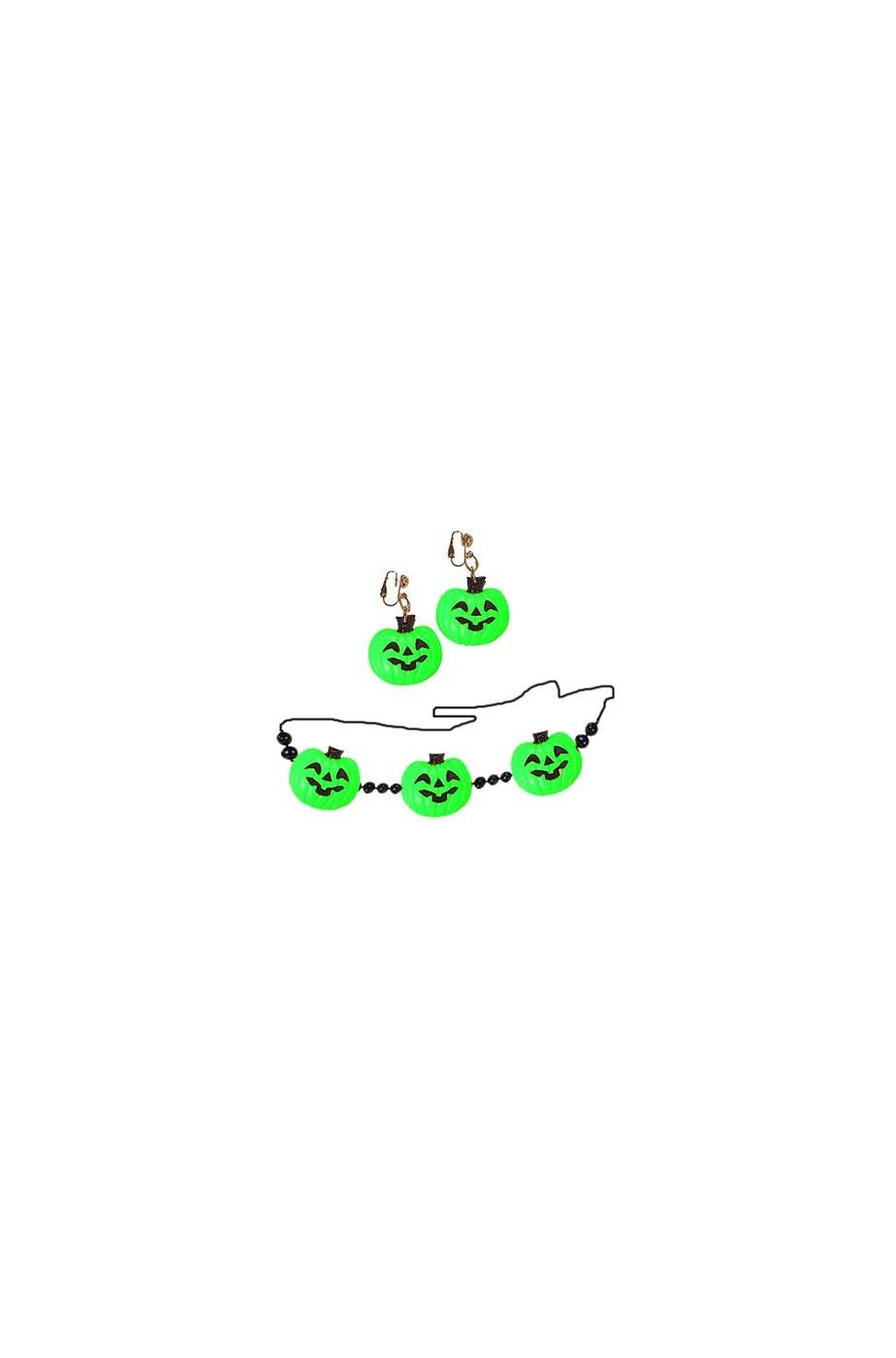 Collana e orecchini zucca colore VERDE