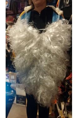 Set parrucca giro testa, barba e baffo babbo natale lunghissima oltre 40 cm bellissima extra lusso grigio perlato mosso