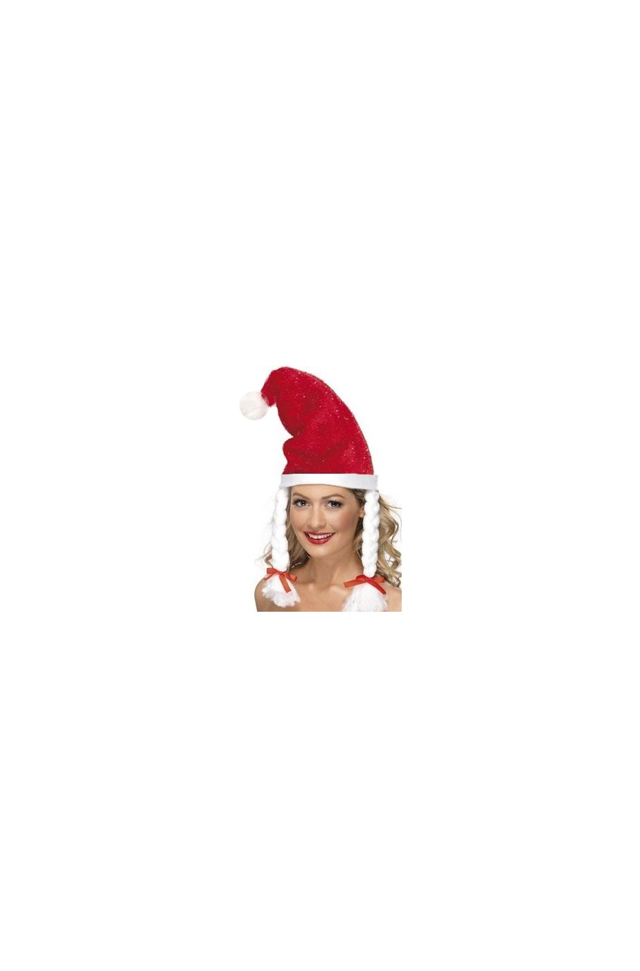 Cappello Babbo Natale con fiocchi di neve glitter e trecce