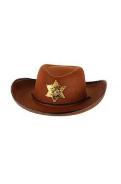 Cappello Cowboy marrone diametro della testa cm19